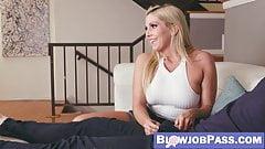MILF Christine Stevens eats stepson cum after blowing
