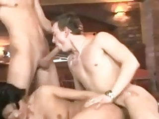 Fantastic Bisex - MMF Bareback in a bar with Male CIM