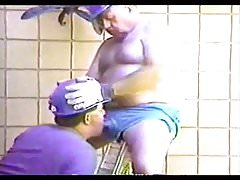 Younger men sucking a mature old men's cock