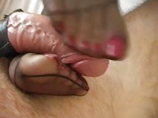 footjobfeet fetish nylon feet cum footjob