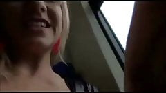 Blonde german slut sucking and fucking in the train
