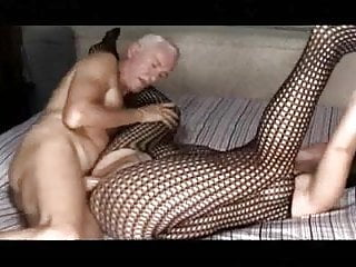 old man fucks a thick chick (he licks his cum off her tits)
