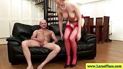 Mature stockings milf sucking dick