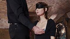 Blindfolded sub slave interviewed