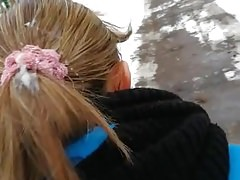 Public sperm cum on woman hair 8