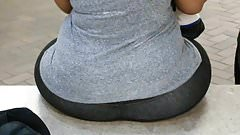 SSBBW sitting with see-through leggings