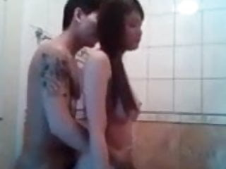 Asian couple fucking in public toilet