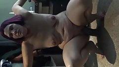 taking a huge dildo