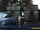 Blonde uk slut pussyfucked by cop outside