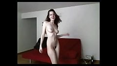 Amateur redhead dancing naked on cam