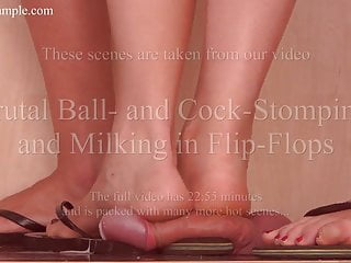 Cock and Ball Trampling by 2 cruel Mistresses in Flip Flops