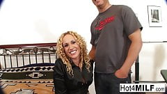 Curly haired MILF gets fucked and facialized