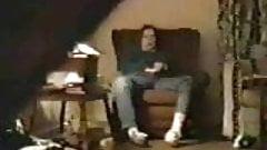 Hidden masturbation. Babysitter in chair (bad quality)