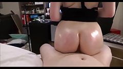 Oiled my wife's huge ass and fucked. Real homemade porn