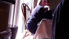 Mature MIL Ass Hanging Out of Chair Candid
