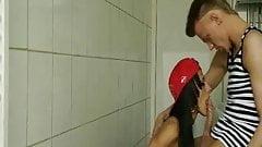 Horny classmates fuck in college restroom