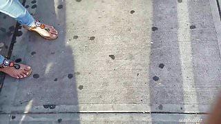 Candid Indian girl feet need pedi