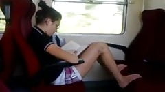 Jerking and flashing in public train for pretty girls
