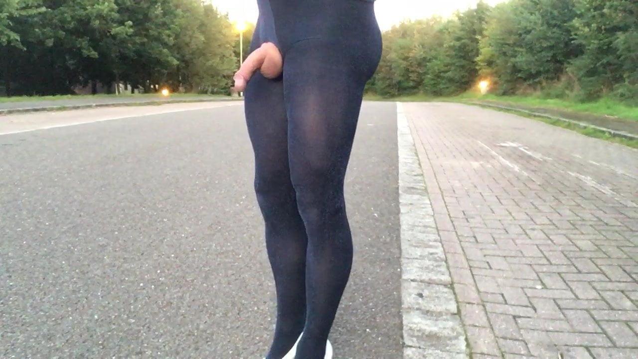 Velvet pantyhose public highway strolling