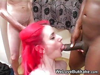 Amateur Redhead sucks many cocks and gets cum on her face p2