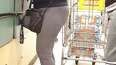 Mature Latina grey leggings thong see through