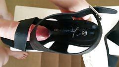 Fuck and cum black white platform sandals heels