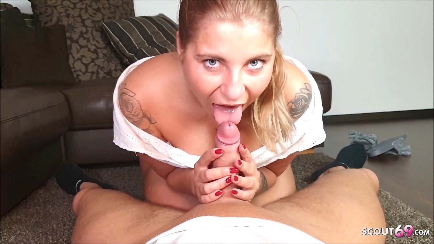 Cute Ex Girlfriend Blow and Trip and let Cum Inside German