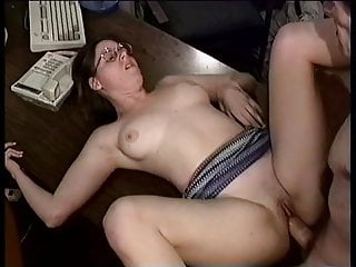 Dorky slut gets her fuck holes plowed