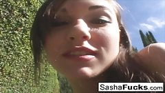 Porn legend Sasha Grey takes the cock deep in her throat and