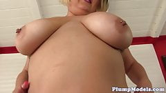 Chubby bbw pleasures her tight pussy