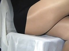 crossdresser pantyhose legs black mini 060