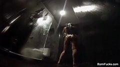 Romi Rain takes a hot, wet shower