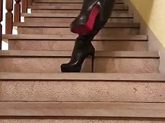 up and down the stairs in black thigh boots...'s Thumb