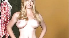 Sexy blonde babe with huge tits strips down, spreads her pussy