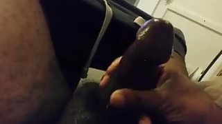 Me Stroking my lubed up leaking Cock