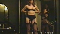 wife's vintage striptease before blowjob