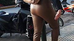 Greek girl in leather leggings 3