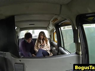 Taxi spycam action with a real british couple