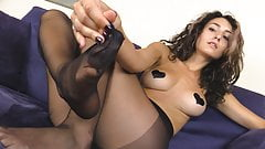 Sexy babe ass and feet in black pantyhose