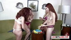 4 babes play a game of Fish, loser strips and faces punishme