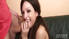 Petite amateur french brunette hard analyzed by a big cock
