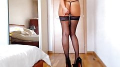 long legs, black lingerie, high heels, long hair