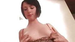 Natural Brunette Amateur Teen Fiona Masturbates on Her Bed