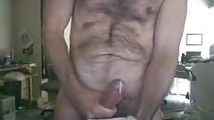 Straight slim old man jacking for cam