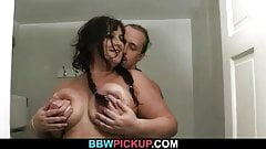 BBW rides stranger's cock in the restroom