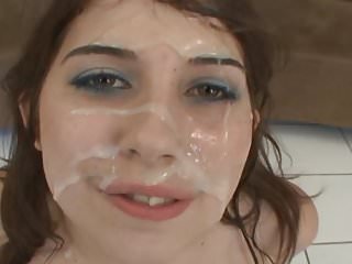cum all over her face