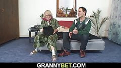 Lonely old woman pleases young guy