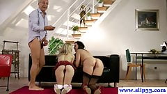 Old euro man in menage a trois with younger