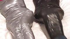 Tape mummified girls gagtalk and fight