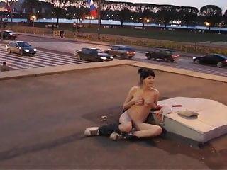 Nude on street SPb